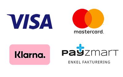Betalsätt Visa, Mastercard, Klarna eller faktura, kan delbetalas.